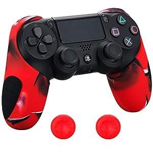 Pandaren® silikon dickere gälfte skin hülle Schutzhülle für PS4 controller (Tarnung rot) x 1 + thumb grips aufsätze x 2