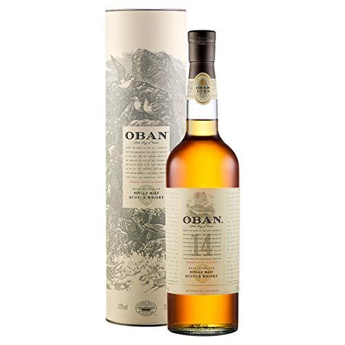 Oban 14 anni Scotch Whisky Single Malt - Whisky Scozzese torbato, puro malto - Delicatamente affumicato dal gusto equilibrato e ricco - In confezione regalo - 1 x 70 cl