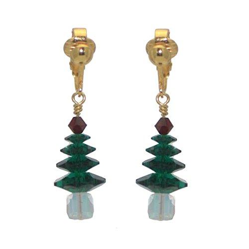 SPARKLING PINE Vergoldete Swarovski Smaragd Crystal Christmas Tree-Clip auf Ohrringe -