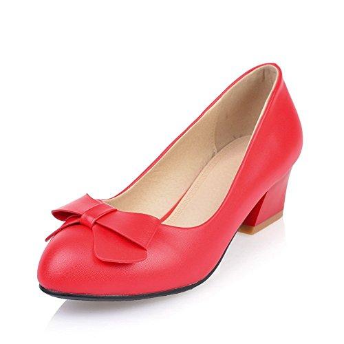 Adee Damen Chunky Heels Bögen Mikrofaser Pumpen Schuhe Rot