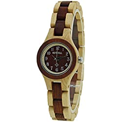 Fashion Noble Lady's Nature Maple Wood Waterproof Quartz Watch Wrist Watches Imported Japanese Movement with Gift Box