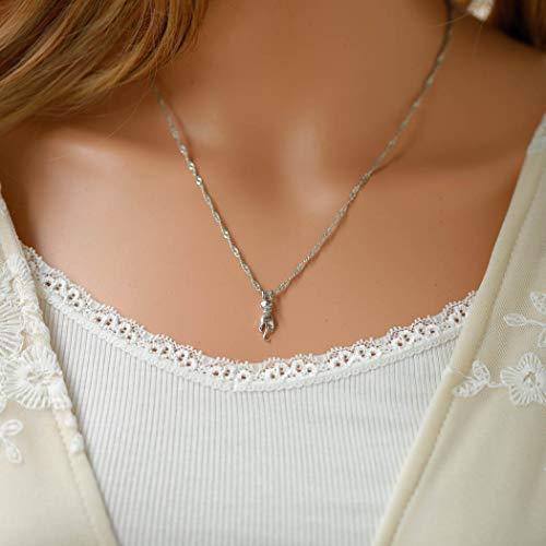 Handcess - Collar de plata con colgante de gato, regalo para niñas y mujeres