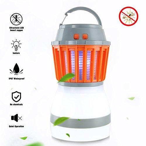 Yami 2-in-1 lampada anti-zanzara & lanterna da campeggio lampada da tenda ip67 antipioggia bug zapper led carica della lampada tramite usb per esterni ed emergenze (arancia)