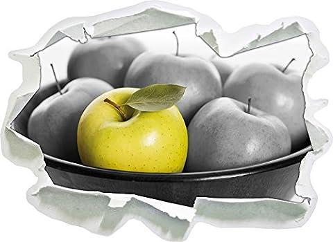 Apple panier avec des pommes vertes noir / blanc, mur 3D de papier taille de l'autocollant: 92x67 cm décoration murale 3D Stickers muraux Stickers