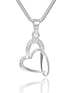 LillyMarie Damen Silberkette Sterlingsilber 925 original Swarovski Elements Herz-Anhänger klar längen-verstellbar...