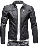 CRONE Epic Herren Lederjacke Cleane Leichte Basic Jacke aus weichem Schafs-Leder (XL, Matt Schwarz)