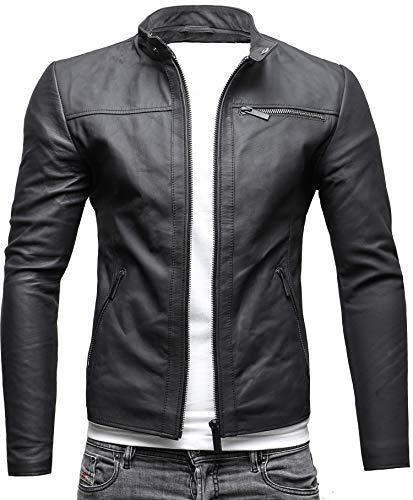 CRONE Epic Herren Lederjacke Cleane Leichte Basic Jacke aus weichem Schafs-Leder (S, Matt Schwarz)