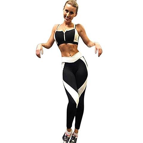 Yoga Pants, Women Sports Yoga Workout Gym Fitness Pants Jumpsuit Athletic Leggings (L, Black)