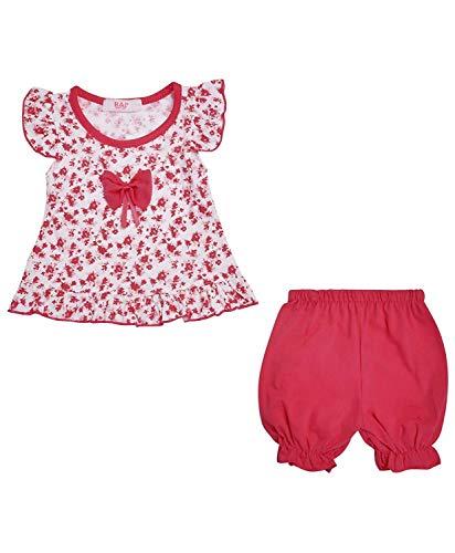 LotMart Baby Mädchen Kleid Oberteil und Shorts 2 Stück Set Blumenmuster - Rot, 12-18 Monate -
