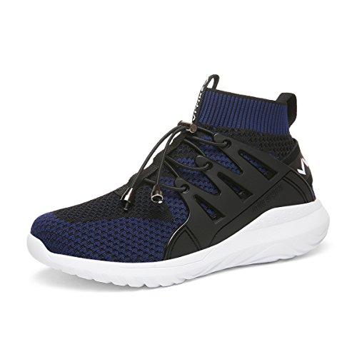 ASHION Junge Mädchen Fitnessschuhe Laufschuhe Atmungsaktive Sneakers Turnschuhe Leicht Freizeit Knit Outdoor Fitness Schuhe Wanderschuhe(Schwarz EU38)