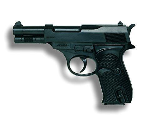 Cop Und Gangster Kostüm - Edison Giocattoli Eaglematic: Spielzeugpistole für Zündplättchen in Geschenke-Box, robuste Qualität, für 13-Schuss Streifenmunition, 17.5 cm, schwarz (E0218/22)