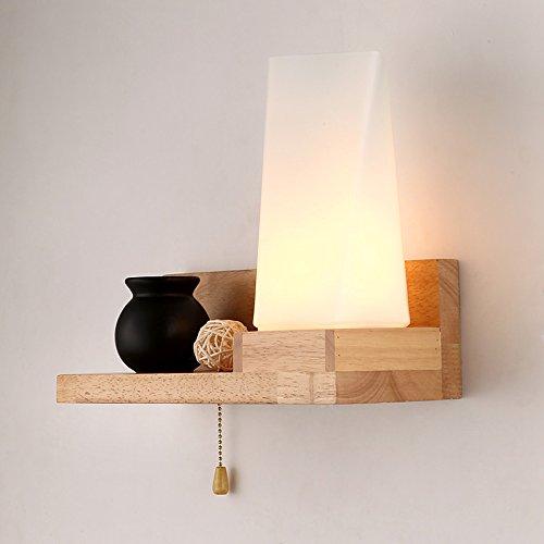 American retro-legno moderno lampada da parete ristorante bar caffetteria in Nord Europa oak lampada da parete calda camera da letto in legno lampada a parete 300*230mm ,b1306 [sinistra] senza una sorgente di luce