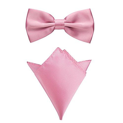 Rusty Bob - Fliege mit Einstecktuch in verschiedenen Farben (bis 48 cm Halsumfang) - zur Konfirmation, zum Anzug, zum Smoking - im 2er-Set (Pastelrosa)