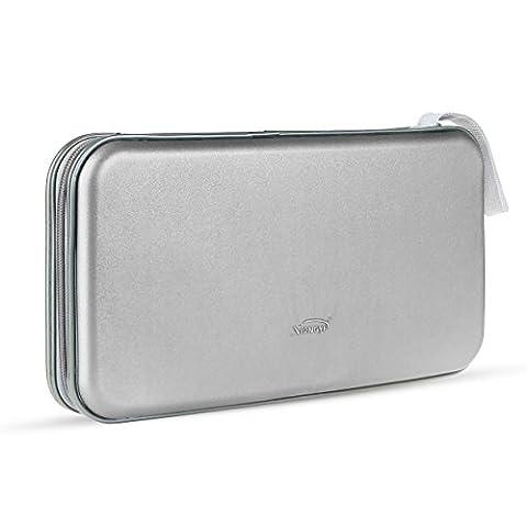 Pingenaneer 80 CD/DVD Aufbewahrung Tasche Hard Plastik CD-Wallet/Mappe mit Verschluss Reißverschluss Anti-Kratzer und Platzsparend - Silber