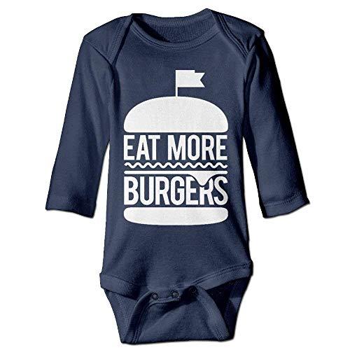 VTXWL Unisex Infant Bodysuits Eat More Burgers Boys Babysuit Long Sleeve Jumpsuit Sunsuit Outfit Navy