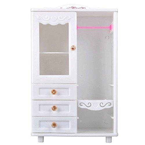 Accessoires en plastique blancs de jouet de meubles de garde-robe pour la maison de poupée
