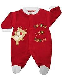 Cute Christmas Velour Sleepsuit With Bear & Santa's Little Helper Embroidery Detail