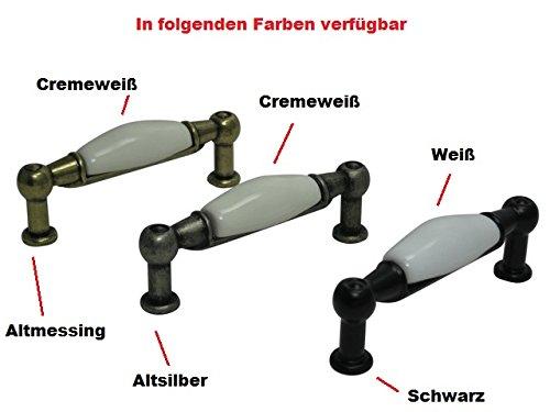 Schrankgriff Möbelgriff Küchengriff Griff Porzellan Lochabstand 64mm Altmessing cremeweiß - 2