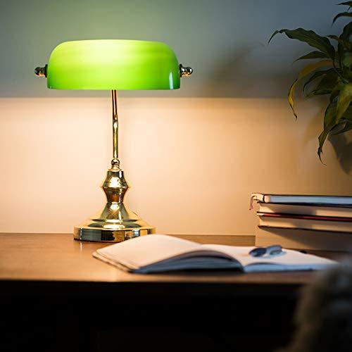 QAZQA Art Deco/Klassisch/Antik/Retro Schreibtischleuchte/Tischleuchte/Büroleuchte/Tischlampe/Lampe/Leuchte NOTAR Gold/Messing mit grünem Glas/Innenbeleuchtung/Wohnzimmerlampe/Sch - Art-deco-messing-tisch