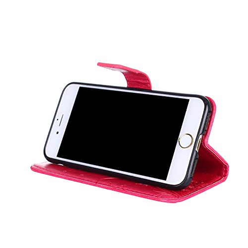 Cover iphone 8 / 7, Alfort 2 in 1 Custodia Protettiva in Pelle Verniciata Goffrata Farfalle e Fioria Alta qualità Cuoio Flip Stand Case per la Custodia iphone 8 / 7 Ci sono Funzioni di Supporto e Port Rosa rossa