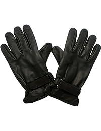 Handschuhe für Biker Lederhandschuhe gefüttert in schwarz