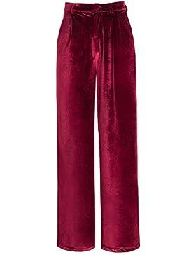Urban GoCo Mujeres Elegante Pantalones de Terciopelo Modernos Palazzo Anchos Pierna Pantalones