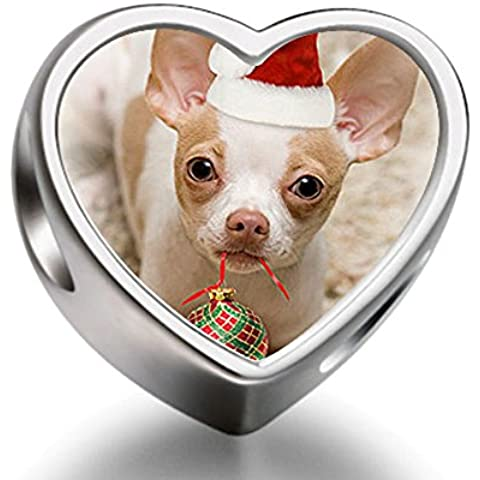 Rarelove Sterling Silver Christmas Chihuahua dog in Santa Claus hat heart photo charm beads