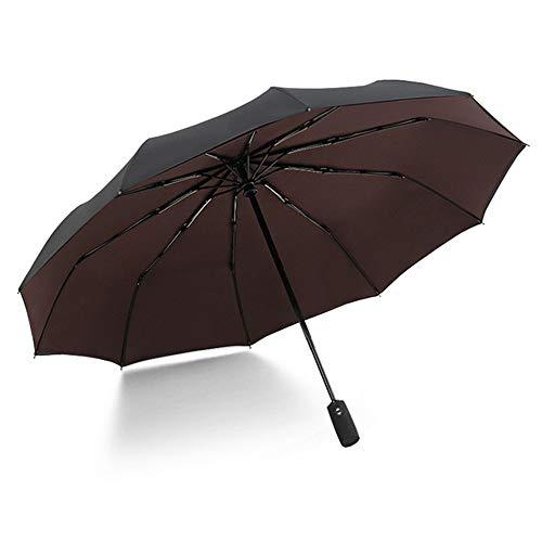 Ten Bone Automatik Taschenschirm Weiblich Männlich Auto Große Winddichte Regenschirm Männer Regen Schwarz Farbe Braun 32 cm