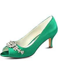 05eb6c5af376 Emily Bridal Silk Mother Shoes Deep Blue Rhinestones Peep Toe Wedding Shoes  Kitten Heel Wedding Guest
