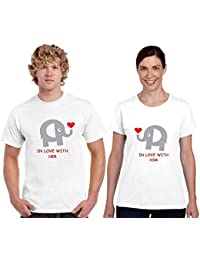 de0f19ae YaYa cafe Valentine Couple T Shirts Cute in Love with You 100% Cotton Men  Women