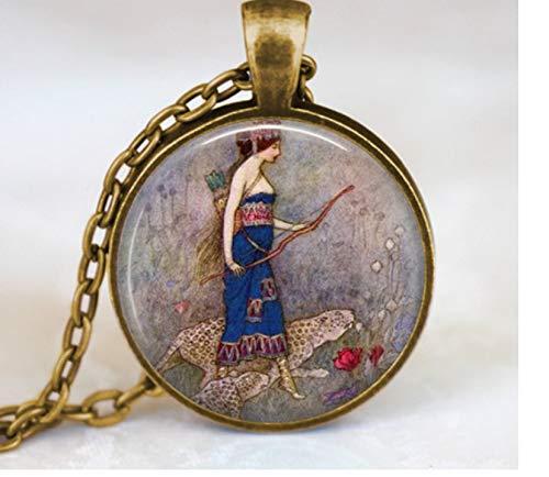GUHUA Vintage Bogenschießen Zubehör Starker Bogen Jagd Frauen Halskette Runde Kunst Schmuck Glaskuppel Anhänger Gliederkette -