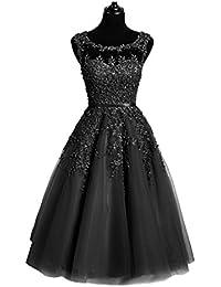 Beauty-Emily Abendkleider Damen Kurz Knielang Elegant Für Hochzeit Spitze d220a91dd7