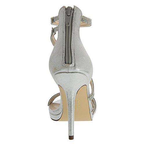 Nina Reed Damen Stoff Sandale Silver