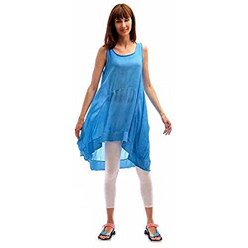 Robe D'été Asymétrique Légère, Fluide et Bi-matiére Turquoise