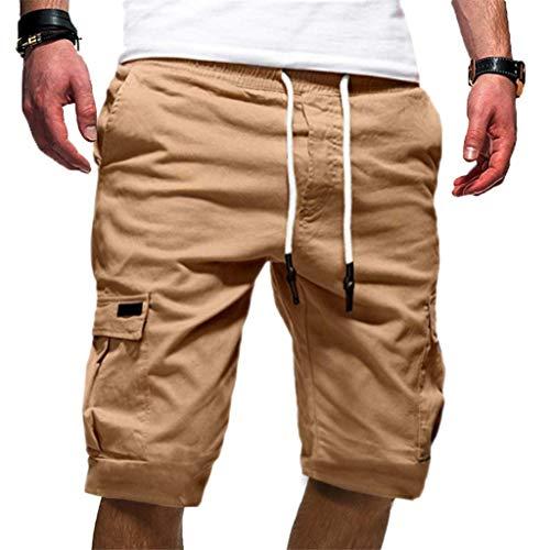 Yvelands Herren Shorts Sport Pure Color Bandage Beiläufige Lose Jogginghose Kordelzughose(Khaki,XL) - Tartan Skull Sweatshirt