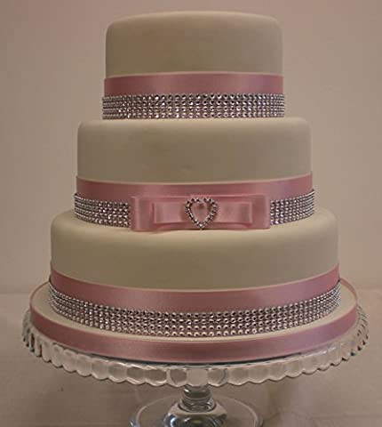 WEDDING CAKE LOVE HEART CAKE TOPPER RHINESTONE BUCKLE - SATIN BABY PINK & DIAMANTE EFFECT TRIM