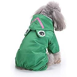 VVAP Impermeable Con Capucha Para Perros Pequeños Verde XL
