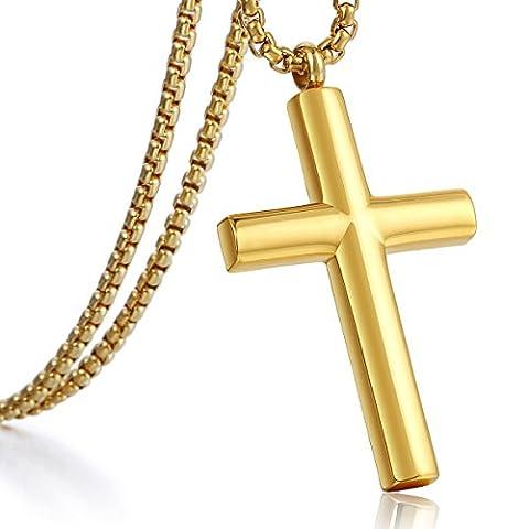 Trendsmax Männer Jungen Kette Gold Silber Ton Edelstahl Kreuz Anhänger Halskette 3mm Runde Box Link einstellbar