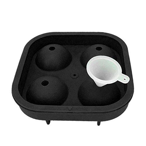 Eisform, Chshe, 3D-Fußballform, Eiswürfelform, Silikonhersteller, Whisky-Cocktailparty-Barschale, Silikon-Lebensmittelmaterial (Schwarz)