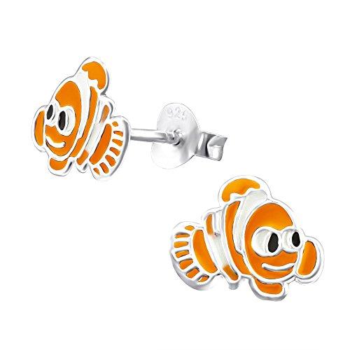 Laimons Mädchen Kids Kinder-Ohrstecker Ohrringe Kinderschmuck Fisch Clownfisch Meeresbewohnerorange weiß schwarz aus Sterling Silber 925