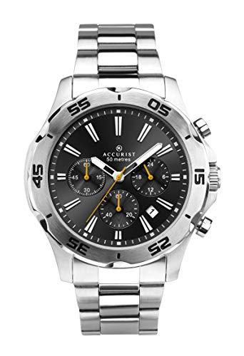 Accurist pour Homme Cadran Noir analogique Montre chronographe avec Bracelet en Acier Inoxydable 7257.
