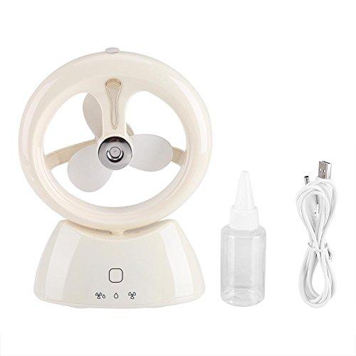 USB Luftbefeuchter Ultraschall Fan Desktop Kühlung Luftreiniger Tragbar Handhaltende Wiederaufladbare Lüfter für Haus Büro Wohnzimmer(Weiß) (Ultraschall-öl Diffusoren)