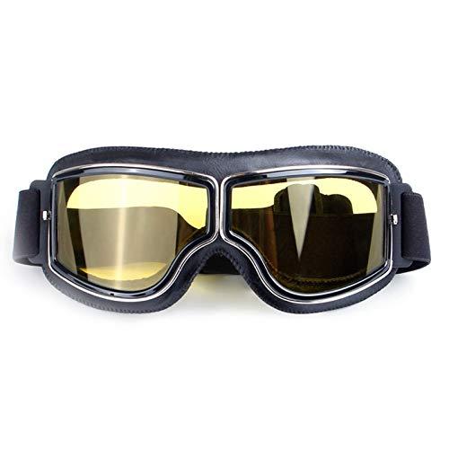 DOLOVE Motorradbrille Entspiegelt Winddichte Schutzbrille Sport Nachtfahrbrille Motorrad Schwarz Gelb
