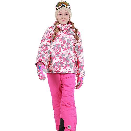LPATTERN Kinder Jungen/Mädchen Skifahren 2 Teilig Schneeanzug Skianzug(Skijacke+ Skihose), Pink-Weiß-Grau Jacke+ Pink Trägerhose, Gr. 134/140(Herstellergröße: 140)