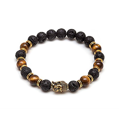 Petalum Unisex Armband Cool Vintage Buddha Armband Lavastein Kugeln Perlen Tibetische Buddhist Mala Stretch Armreif Energiearmband (Buddha Armband) Stretch-georgette