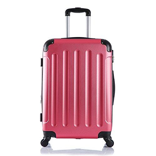 EUGAD Reisekoffer Hartschalenkoffer 4 Rollen mit erweiterbaren Volumen Reise Koffer Trolley Hartschale Handgepäck groß M / L / XL / Set leicht und günstig Rosa (L 67 cm & 70 Liter) , RK4204rs-L