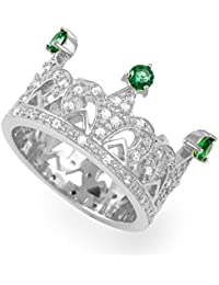 Exxotic Sterling Silver Green CZ Princess Crown Ring Gift For Women