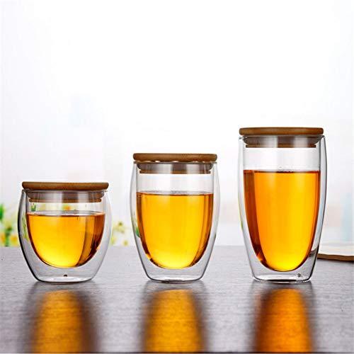 Erjialiu Kaffeetasse Transparente handgemachte hitzebeständige doppelwandigen Glasbecher Milch Kaffee Zitrone Teebecher mit Bambusdeckel Kaffeetasse Set,350ML