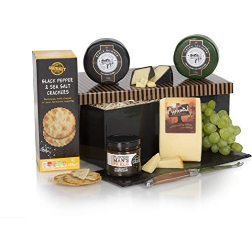Luxury Three Cheese Hamper - Cheese Gift Box - Award Winning Cheese Selection, Ploughmans Pickle & Sea Salt Crackers In Gift Box - Cheese Gifts