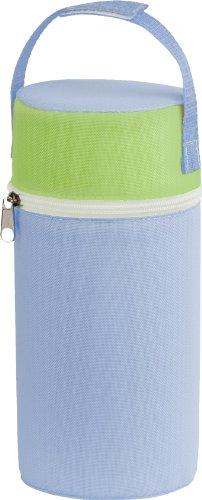 Rotho Babydesign Isolierbox mit Stoffbezug, Für Weithalsflaschen, 10,5 x 10,5 x 22,2 cm, Babybleu/Lindgrün/Weiß, 300650222